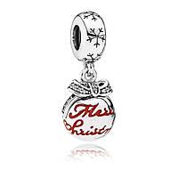 Шарм «Шарик с Рождеством» из серебра в стиле Pandora