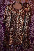 Леопардовый комплект пеньюар с халатом