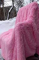 Из длинного ворса меховой плед розовый