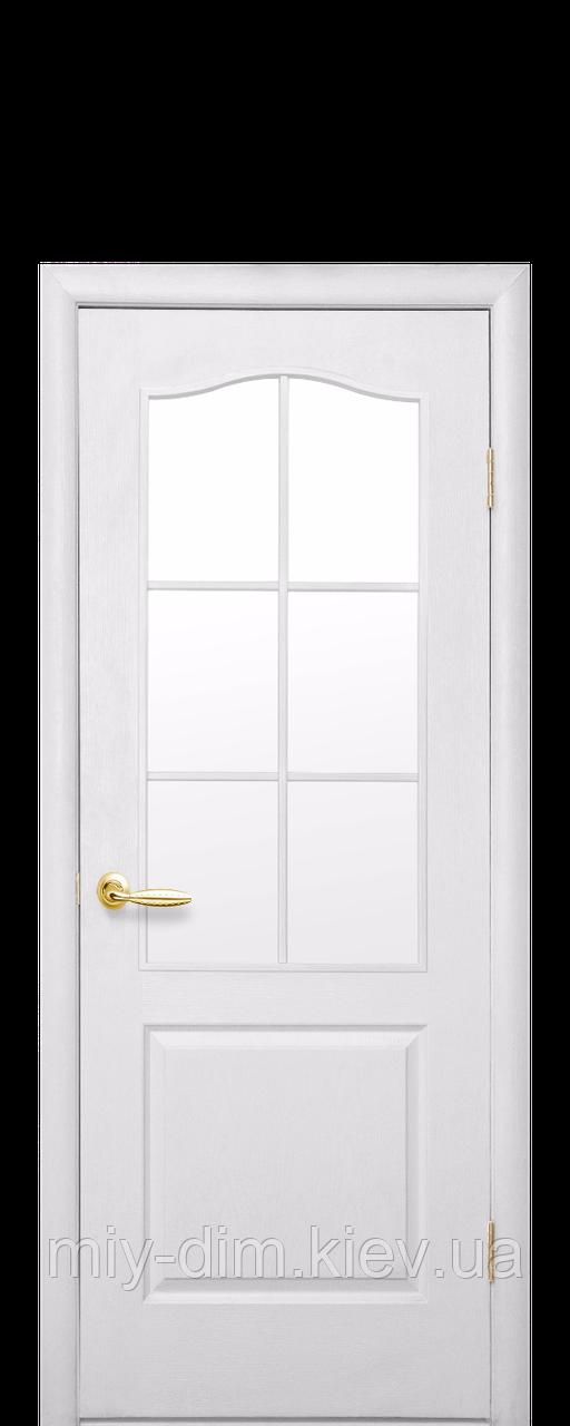 Двері МДФ Класік з арочн. рамкою 70 білі б/скла