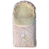 Зимовий конверт для новонародженого на овчині на виписку, фото 1