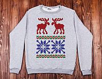 Свитшот свитер унисекс Зимний мотив,новогодние подарки