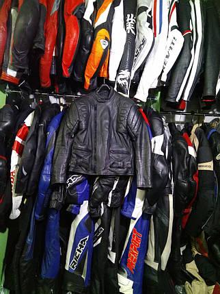 Мото куртка б/у кожа женская  черная, фото 2