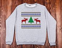 Свитшот свитер унисекс Хоровод оленей,новогодние подарки