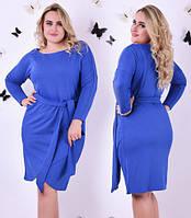 Платье женское короткое больших размеров с поясом P4558