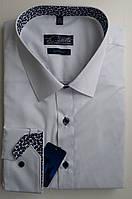 Рубашка slim-fit белая на синих пуговицах