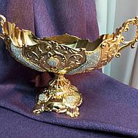 Фруктовница, конфетница золото, сплав металлов с покрытием, размер 35*15*18