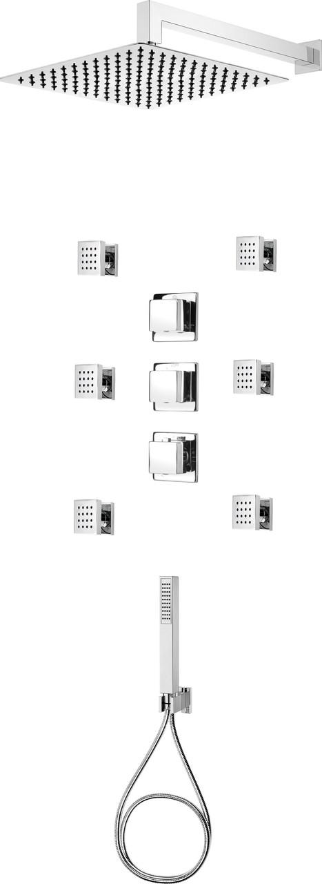 Комплект скрытого монтажа с термостатическим смесителем  Deante MULTI-SYSTEM, квадратный