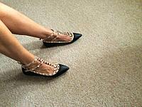 Женские черные балетки Valentino с заклепками/шипами с застежкой 36-41
