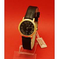 """Женские наручные часы с золотым корпусом и черным ремешком """"Каван"""""""
