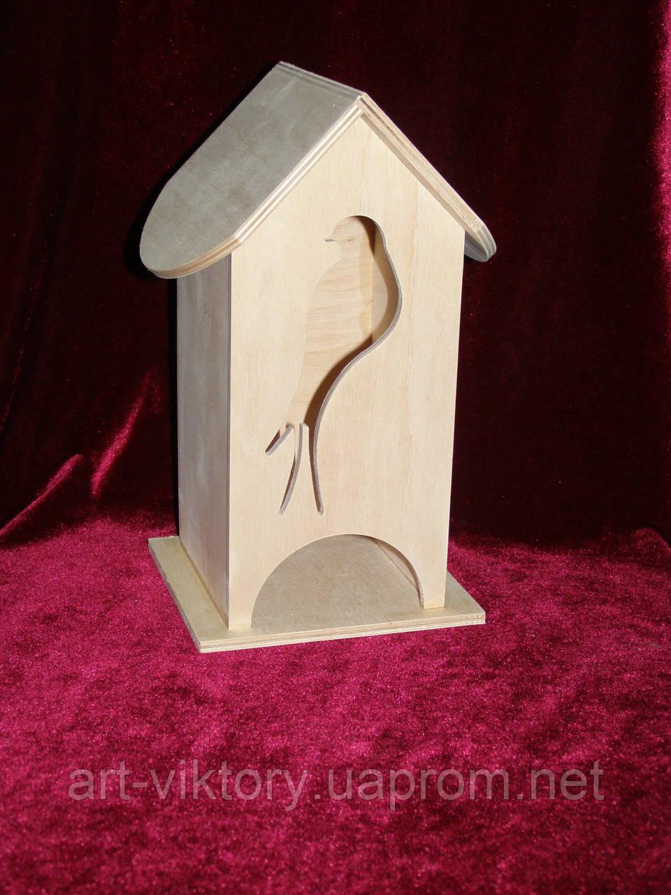Будиночок коробка для чайних пакетиків пташка (10 х 10 х 23 см)