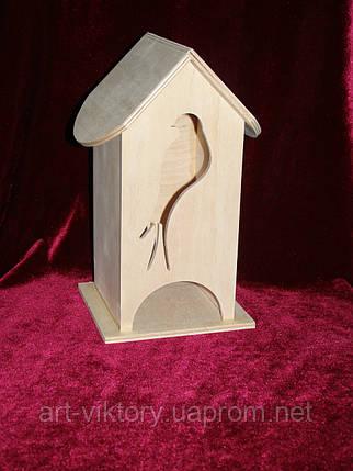 Будиночок коробка для чайних пакетиків пташка (10 х 10 х 23 см), фото 2