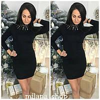 Женское короткое платье с камнями ткань трикотаж (машинная вязка) черное