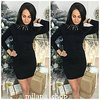 Женское короткое платье с камнями ткань трикотаж (машинная вязка) черное, фото 1