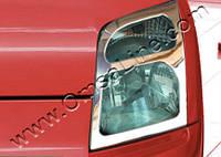 Ford Connect 2010-2014 гг. Накладки на фары (2 шт, нерж.) OmsaLine - Хромированный пластик