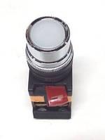 Кнопка ABLF-22 білий d22мм неон/240В 1з+1р IEK