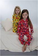 Пижама детская теплая зимняя байковая для девочки хлопок Wiktoria W 166