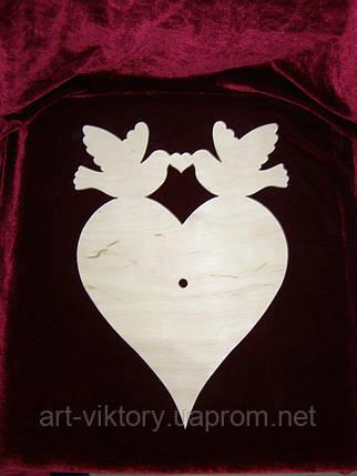 Заготовка под часы сердце с голубями, фото 2