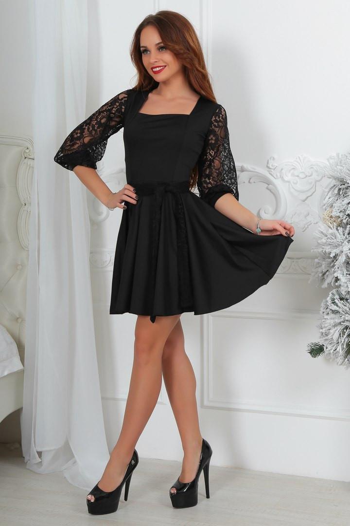 a2155f27e74 Коктейльное нарядное красивое платье с кружевными рукавами и юбкой солнце-клеш  черное - Стильная женская