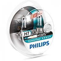 Лампа галогенна Philips H7 3350K X-treme Vision +130% світла, 12V - 55W, евробокс 2 шт 12972XV+S2