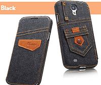 Уникальный чехол флип для Samsung Galaxy S4 i9500 джинс черный