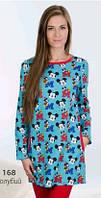 Сорочка, ночная рубашка детская теплая байковая подростковая для девочки хлопок Wiktoria W 168