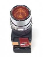 Кнопка ABLF-22 жовтий d22мм неон/240В 1з+1р IEK
