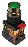 Кнопка ABLF-22 зеленый d22мм неон/240В 1з+1р IEK