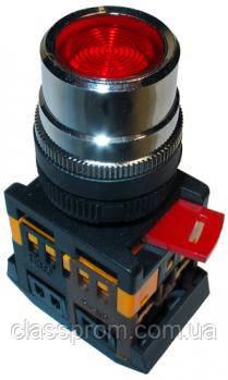 Кнопка ABLF-22 красный d22мм неон/240В 1з+1р IEK