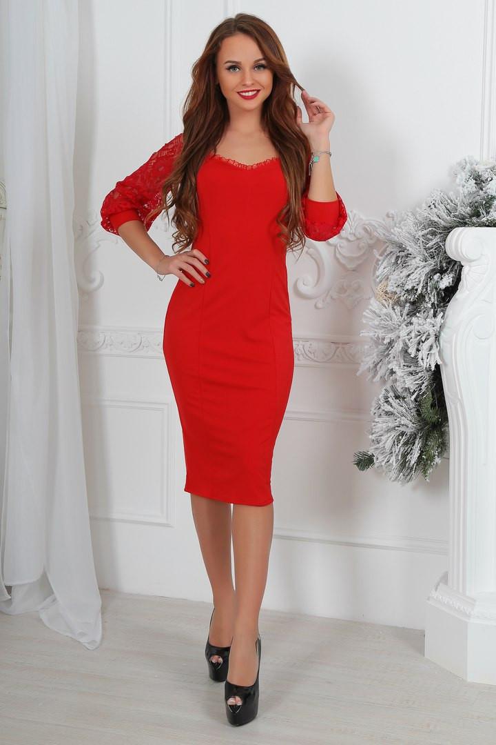 2e757c20f56 Коктейльное нарядное облегающее платье миди с кружевными рукавами красное -  Стильная женская одежда оптом