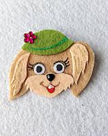 Брошка-украшения для шапок Собачка в шляпке из фетра.