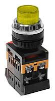 Кнопка ABLFP-22 жовтий d22мм неон/240В 1з+1р IEK