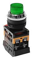Кнопка ABLFP-22 зелений d22мм неон/240В 1з+1р IEK
