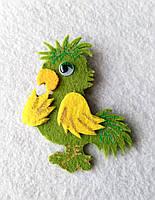 Брошка-украшения для одежды Попугай из фетра.