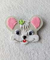 Брошка-украшения для одежды Мышка из фетра.