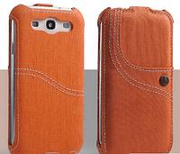 Уникальный чехол флип для Samsung Galaxy S3 i9300 джинс оранжевый