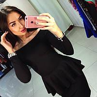 Стильный костюм баска+юбка спущенные плечи черный, фото 1