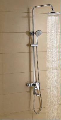 Душевая стойка в ванную комнату со смесителе краном и верхней лейкой