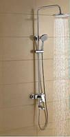 Душевая стойка в ванную комнату со смесителе краном и верхней лейкой, фото 1