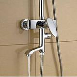 Душевая стойка в ванную комнату со смесителе краном и верхней лейкой, фото 2