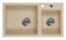 Мийка 2-камерна без полиці Deante PIVA, пісочний граніт, 780х440х180 мм