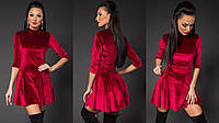 Женское модное платье клеш из нежного бархата бордовое