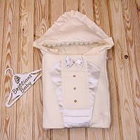 """Нарядный зимний конверт """"Аристократ"""" для мальчика на выписку (айвори), фото 1"""
