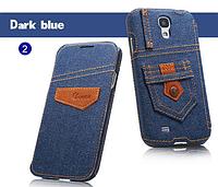 Уникальный чехол книжка для Samsung Galaxy S4 i9500 джинс синий
