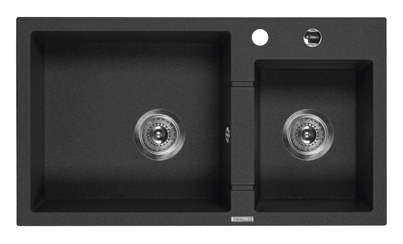 Мийка 2-камерна без полиці Deante PIVA, графітовий граніт, 780х440х180 мм