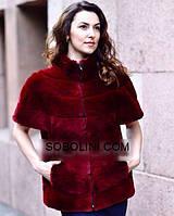 """Модная жилеточка из меха испанского стриженного кролика цвета """"марсала"""" """"Ruby""""46 размер в наличии"""