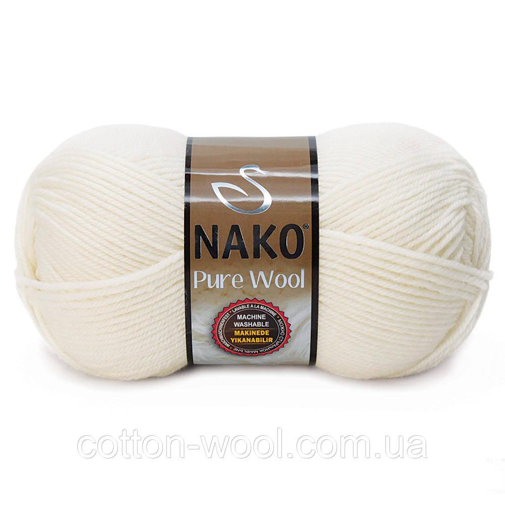 Nako Pure Wool (Нако Пур вул) 100%шерсть 208 белый