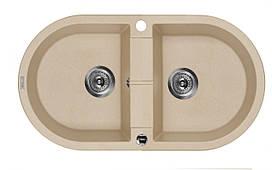 Мийка 2-камерна без полиці Deante PIVA, овальна, пісочний граніт, 780х440х180 мм