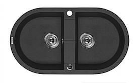 Мийка 2-камерна без полиці Deante PIVA, овальна, графітовий граніт, 780х440х180 мм