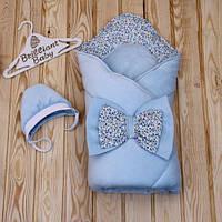 "Зимний конверт-одеяло с шапкой ""Винтаж""  голубой, фото 1"